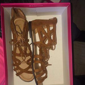 ShoeDazzle Brown Sandals W/ Zipper